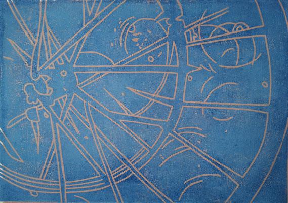 Fahrradreifen Blau-Sand, Holzschnitt, 42 x 29,7 cm