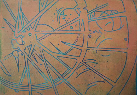 Fahrrdareifen Orange-Blau, Holzschnitt, 42 x 29,7 cm