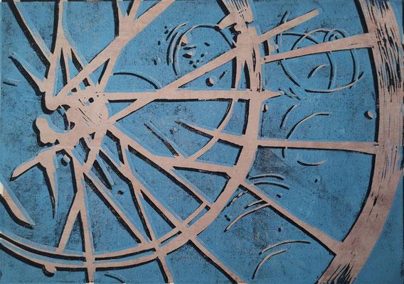 Fahrradreifen Blau-Sand-Schwarz, Holzschnitt, 42 x 29,7 cm