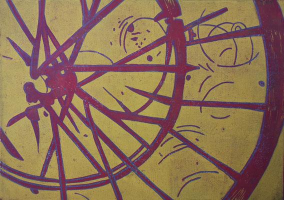 Fahrradreifen Gelb-Weinrot, Holzschnitt, 42 x 29,7 cm