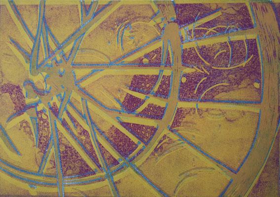 Fahrradreifen Gelb-Violett, Holzschnitt, 42 x 29,7 cm