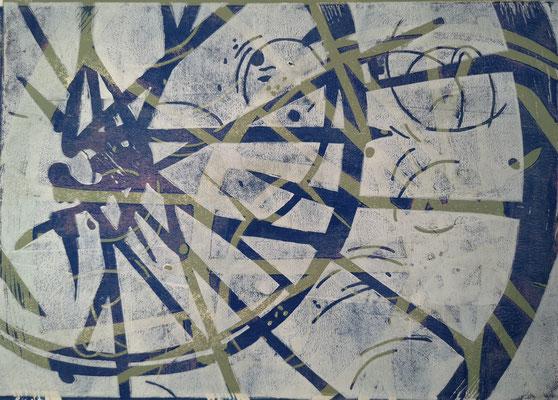 Fahrradreifen Weiß-Grün-Blau upside down, Holzschnitt, 42 x 29,7 cm