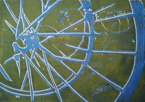 Fahrradreifen Blau-Weiß-Grün, Holzschnitt, 42 x 29,7 cm