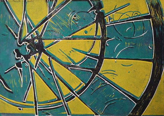 Fahrradreifen Schwarz-Grün-Gelb, Holzschnitt, 42 x 29,7 cm
