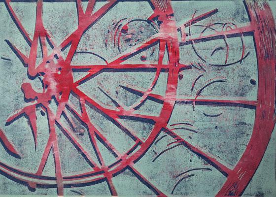 Fahrradreifen Mint-Rot-Blau, Holzschnitt, 42 x 29,7 cm
