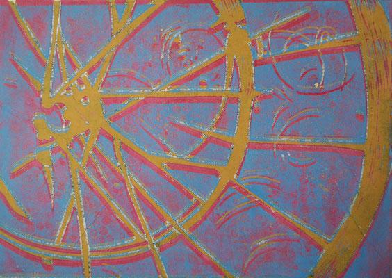 Fahrradreifen Blau-Rosa-Gelb, Holzschnitt, 42 x 29,7 cm