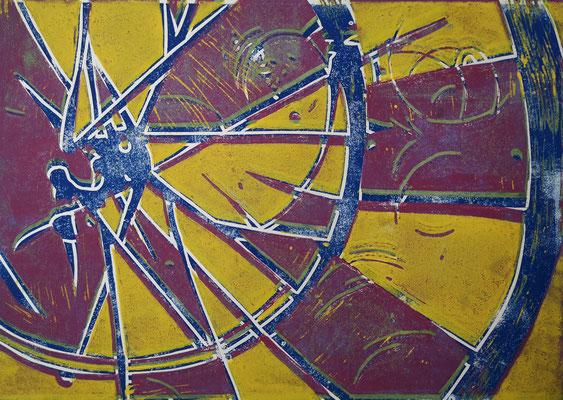 Fahrradreifen Gelb-Violett-Blau, Holzschnitt, 42 x 29,7 cm