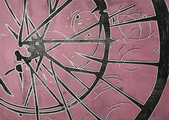 Fahrradreifen Schwarz-Rosa, Holzschnitt, 42 x 29,7 cm