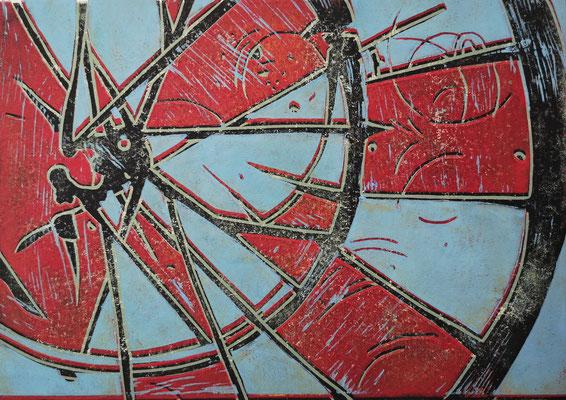 Fahrradreifen Blau-Rot-Schwarz, Holzschnitt, 42 x 29,7 cm
