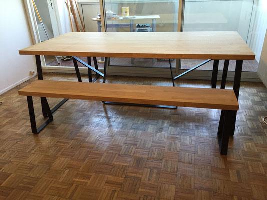 Table et banc metal bois sur mesure