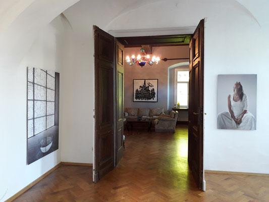 Blick in die Ausstellung, Venedig auf Reisen, Schloss Ebenau 2021, Silvano Rubino, Gudrun Kampl, ©bei den Künstlern