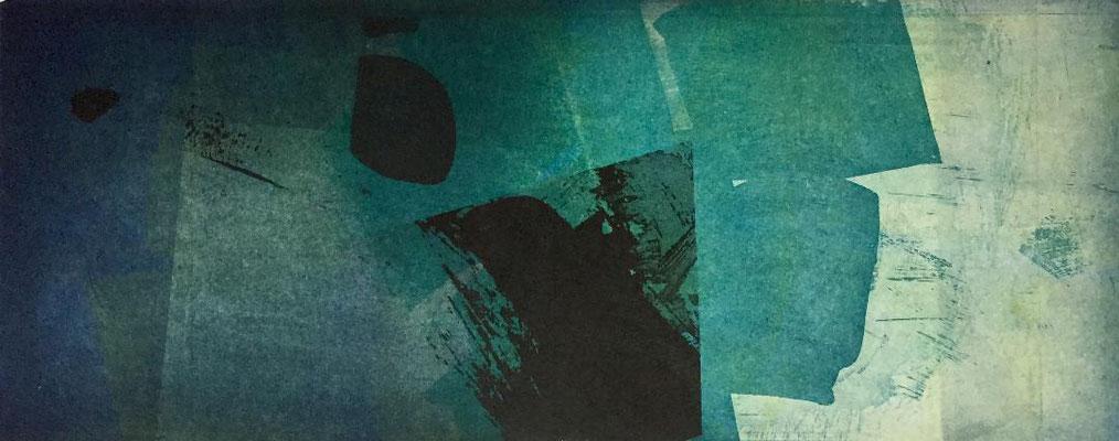 Marie -Clémentine Marès - graveur /plasticienne - Aquatinte imprimée sur chine appliquée et marouflée sur BFK Rives 40x50cm -  format gravure 16X40cm -    Tirage unique - aux senteurs d'oliban I