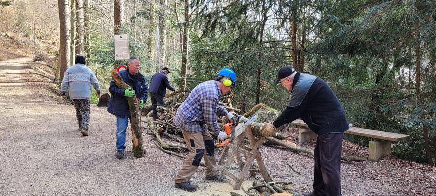Verarbeitung des zugetragenen Holzes