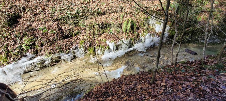 Daneben konnte man schöne Eisformationen beobachten