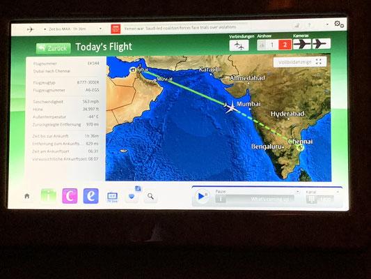 Der Hinflug nach Chennai