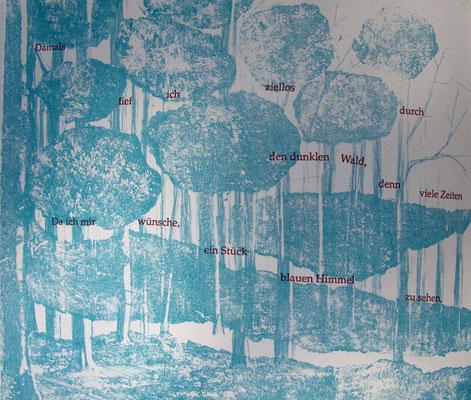 Kristin finsterbusch und Jin - Suk Kang,  Mein Wald, meine Landschaft, Künstlerbuch, Lithografie, Seite 16 von 23 Seiten, 1998, 21 x 25 cm, Auflage 20
