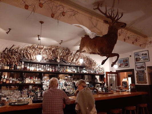 The Flying Stag oak bar