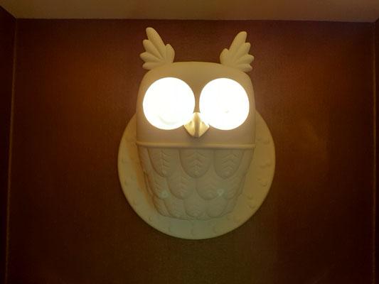 Owl Lamp at bathroom Frohe Aussicht Schwende