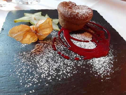 Warm Chocolate Cake at Stüva Restaurant Pontresina