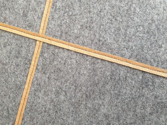 manufra Eisenhower Pin Board Matrix mittelgrau-meliert mit Veggi Leder in cognac