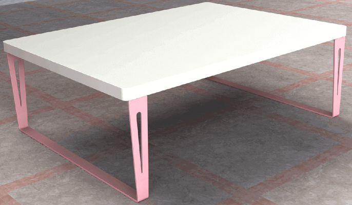 pied de table rectangulaire rose pour table de salon