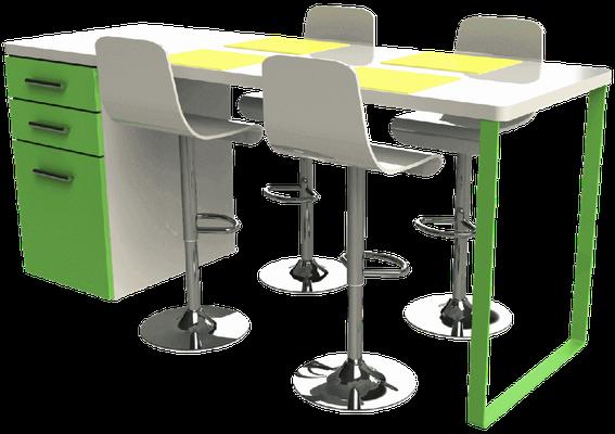 Pied de table péninsule coloré pour cuisine à petit prix
