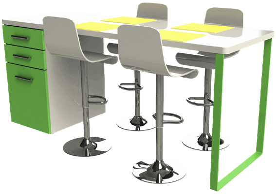 pied de table péninsule vert pour cuisine