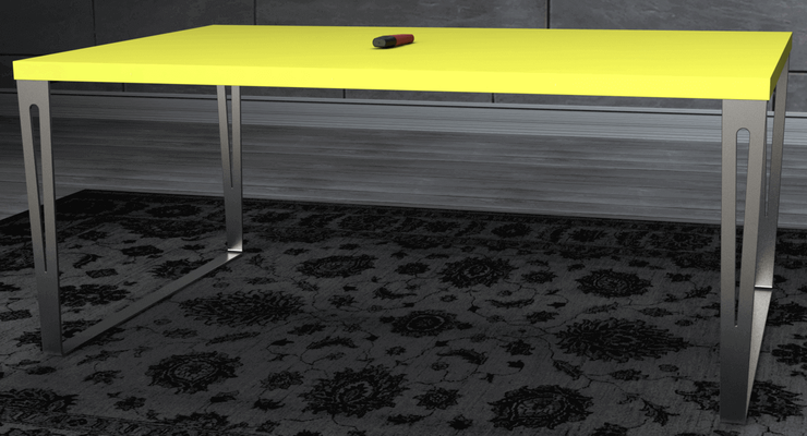 pied de table rectangulaire en inox massif pour table de salon