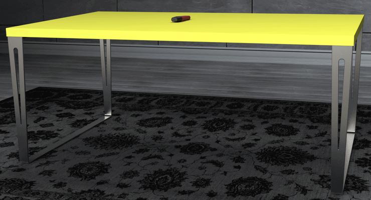 pied de table rectangulaire en inox massif pour table de salon