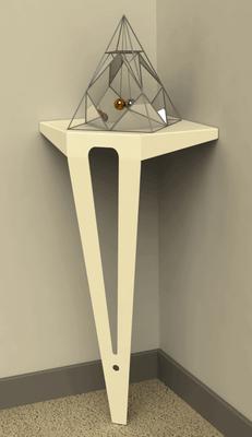 Console d'angle design couleur blanc perlé.