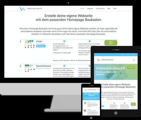 Websitebuilder24.de - Eigenprojekt auf Drupal Basis. Test und Vergleich von Homepage Baukasten Systemen