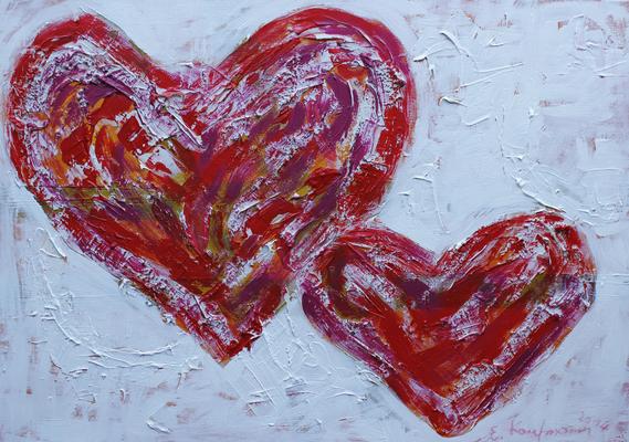 Herz steht für Leben, Liebe und Schmerz, 70x100, Acryl auf Leinwand