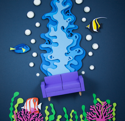 Papier Illustration Sofa Aquarium