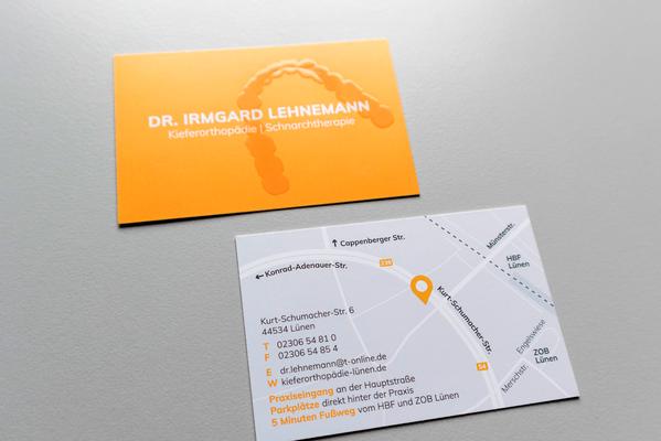 Gestaltung Visitenkarte Praxis Dr. Irmgard Lehnemann