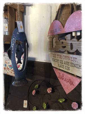 Windspiel, blau, Fisch, groß, rosa, Herz, Text, Shabby Chic, Vintage, Holz, Keramik, Röschen, Landhaus Dekoration, Wandbild, Metall, Landhausdeko