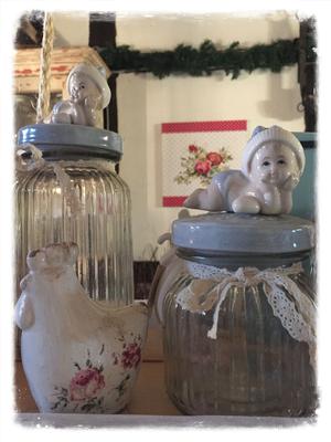 Vorratsglas, Huhn, Kind, Bild, Blumen, Rose