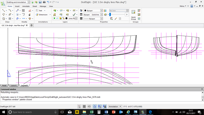 Lines plan of RAM composite fishing boat