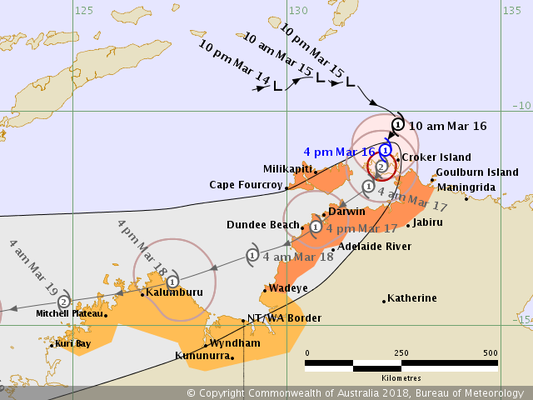 Tropical Cyclone Marcus track map 17/03/2018 1700 ACST,  from www.bom.gov.au