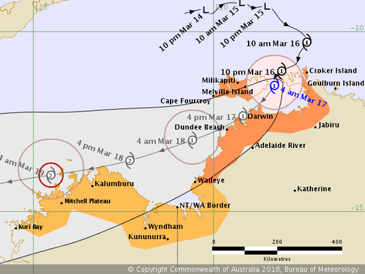 Tropical Cyclone Marcus track map 16/03/2018 0700 ACST, from www.bom.gov.au