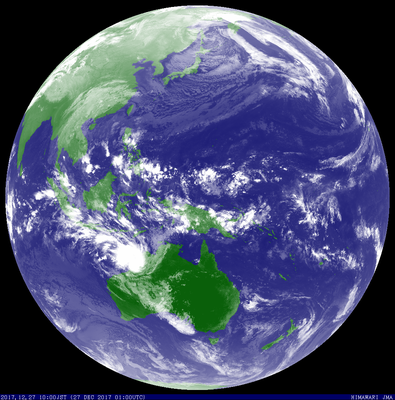 Satellite image of a tropical low off Western Australia. Image from JMA.