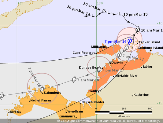 Tropical Cyclone Marcus track map 16/03/2018 0400 ACST, from www.bom.gov.au