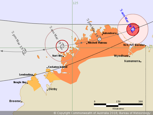 Tropical Cyclone Marcus track map 18/03/2018 0500 WAST,  from www.bom.gov.au