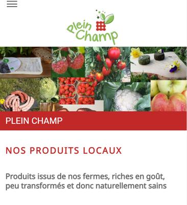 """Page """"Nos produits"""" du site web de Plein Champ"""