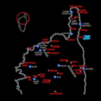 Unsere Route auf Korsika (rot: besuchte Orte, blau: unsere Übernachtungen)