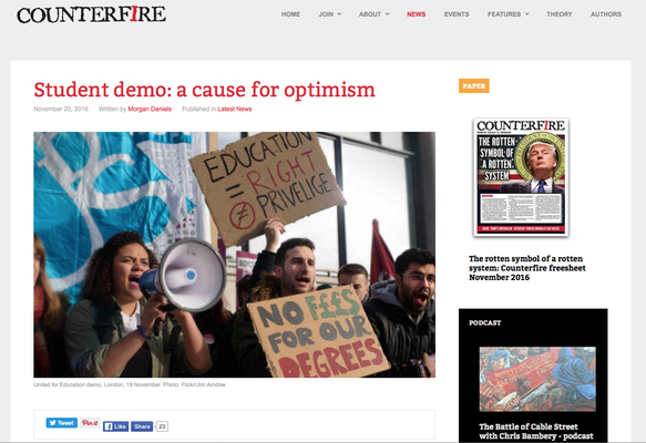 Counterfire: Students demo: a couse for optimism, 20.12.16
