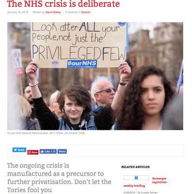 Counterfire:The NHS Crisis is deliberate. 14.1.18