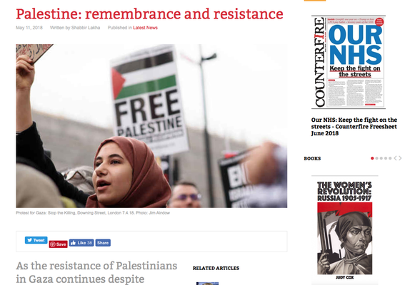 Counterfire 11.5.18 Palestine: remembrance and resistance.