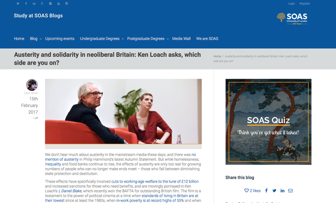 Study at SOAS Blogs: Austerity and solidarity in neoliberal Britain: Ken Loach asks, which side are you on?