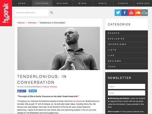 Hypeonik Magazine:  Tenderloneous in conversation. 15.6.18