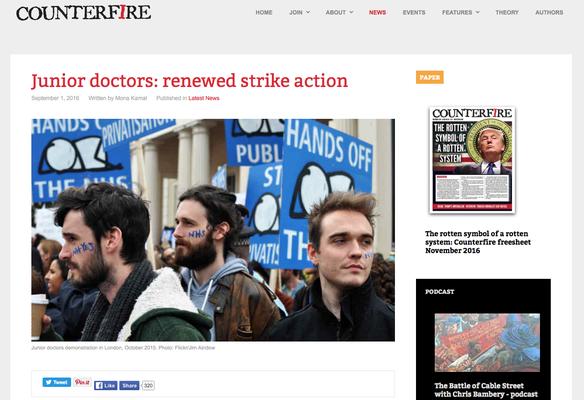 Junior Doctors: renewed strike action. 1.9.16